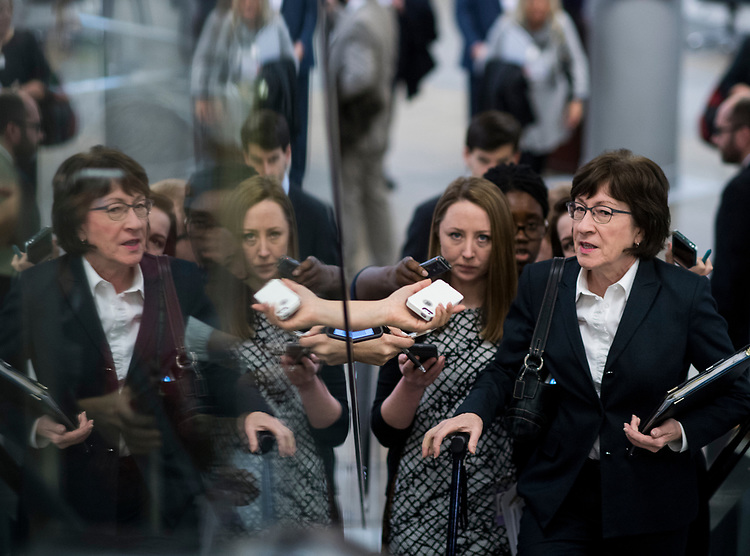UNITED STATES - MARCH 14: Sen. Susan Collins, R-Maine,  speaks with reporters as she arrives for the Senate Republicans' policy lunch in the Capitol on Tuesday, March 14, 2017. (Photo By Bill Clark/CQ Roll Call)