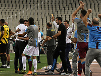 Trabzonspor team celebrate during of the UEFA Europa League play-off, 1st leg, soccer match between AEK Athens FC and Trabzonspor at the OAKA Spyros Louis Stadium in Athens, Greece on August 22, 2019.