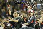 6 November 2004: DC United fans erupt in celebration after their team had take a 1-0 lead in the 11th minute of the game. DC United defeated the New England Revolution 4-3 on penalties after the game ended in a 3-3 tie at RFK Stadium in Washington, DC in the Major League Soccer Eastern Conference Championship Match. ..