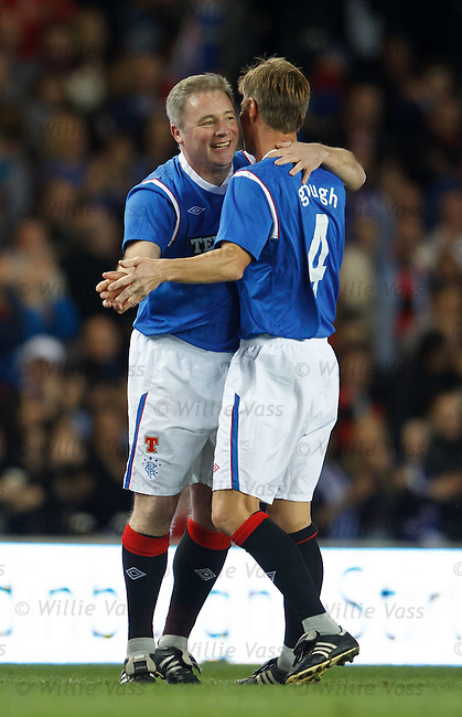 Ally McCoist and Richard Gough have a foxtrot after Supers goal