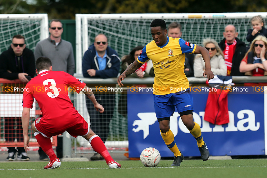 Layne Eadie of Harlow Town and Abs Thompson of AFC Hornchurch during Harlow Town vs AFC Hornchurch, Ryman League Divison 1 North Play-Off Final Football at The Harlow Arena on 1st May 2016