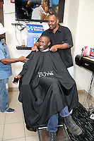 PHILADELPHIA, PA - AUGUST 19 :  Actor Sean Patrick Thomas pictured with Darryl Thomas, shop owner at Philly Cuts Unisex Salon for the Democratic Philadelphia voter registration launch in Philadelphia, Pa on August 19, 2016  photo credit Star Shooter/MediaPunch