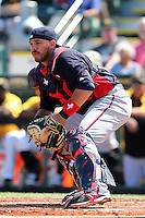 Minnesota Twins catcher Rene Rivera #32 during a spring training game against the Pittsburgh Pirates at McKechnie Field on March 10, 2012 in Bradenton, Florida.  Minnesota defeated Pittsburgh 4-2.  (Mike Janes/Four Seam Images)
