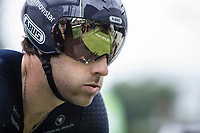 Alex Dowsett (GBR/Movistar) ITT pre start focus.<br /> <br /> Binckbank Tour 2017 (UCI World Tour)<br /> Stage 2: ITT Voorburg (NL) 9km