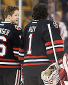 Ryan Belonger (NU - 16), Derick Roy (NU - 1) - The Northeastern University Huskies defeated the Boston University Terriers 3-2 in the opening round of the 2013 Beanpot tournament on Monday, February 4, 2013, at TD Garden in Boston, Massachusetts.