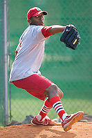 Samuel Freeman (15) of the Johnson City Cardinals does some bullpen work at Howard Johnson Field in Johnson City, TN, Thursday July 3, 2008.