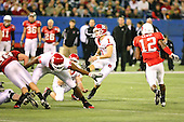 January 5th, 2008:  Rutgers place kicker Jeremy Ito (1) follows through on a 53 yard field goal as Kevin Brock (89) blocks during the second quarter of the International Bowl at the Rogers Centre in Toronto, Ontario Canada...Rutgers defeated Ball State 52-30.  ..Photo By:  Mike Janes Photography