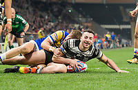 Picture by Allan McKenzie/SWpix.com - 19/04/2018 - Rugby League - Betfred Super League - Hull FC v Leeds Rhinos - KC Stadium, Kingston upon Hull, England - Hull FC's Jake Connor scores a try against Leeds.