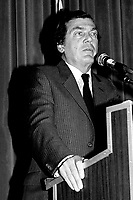 April 25 1988 File Photo - <br /> Egdar Bronfman (Senior) ,Canadian born billionaire and longtime World Jewish Congress president speak at the Canadian Club of Montreal tribune.<br /> <br /> PHOTO :  Agence Quebec Presse