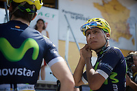 Nairo Quintana (COL/Movistar) getting ready for the morning podium team presentation<br /> <br /> Stage 20: Meg&egrave;ve &rsaquo; Morzine (146.5km)<br /> 103rd Tour de France 2016