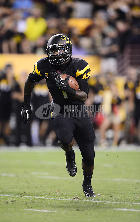 Oct. 18, 2012; Tempe, AZ, USA; Arizona State Sun Devils running back (1) Marion Grice runs the ball in the first quarter against the Oregon Ducks at Sun Devil Stadium. Mandatory Credit: Mark J. Rebilas-