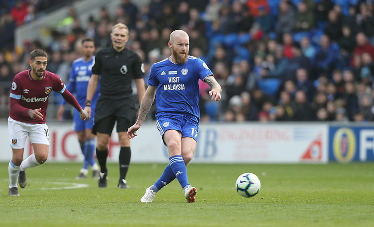 Cardiff City's Aron Gunnarsson<br /> <br /> Photographer Rob Newell/CameraSport<br /> <br /> The Premier League - Cardiff City v West Ham United - Saturday 9th March 2019 - Cardiff City Stadium, Cardiff<br /> <br /> World Copyright © 2019 CameraSport. All rights reserved. 43 Linden Ave. Countesthorpe. Leicester. England. LE8 5PG - Tel: +44 (0) 116 277 4147 - admin@camerasport.com - www.camerasport.com