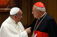 Papa Francesco parla al cardinale Angelo Sodano prima dell'inizio della sessione quotidiana del Sinodo sulla Famiglia, in Vaticano, 7 ottobre 2014.<br /> Pope Francis talks to cardinal Angelo Sodano as he arrives for the daily session of the synod on family issues, at the Vatican, 7 October 2014. <br /> UPDATE IMAGES PRESS/Riccardo De Luca<br /> <br /> STRICTLY ONLY FOR EDITORIAL USE