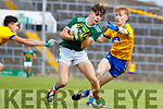 Patrick D'arcy Kerry in action against Dylan Gaughan and Jack Lohan Roscommon during the Kerry v Roscommon All Ireland Minor Quarter Final at the Gaelic Grounds in Limerick on Saturday.