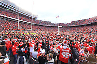 The Ohio State fans take the field after the Ohio State University football team defeats Michigan 30-27 in double overtime. November 26, 2016