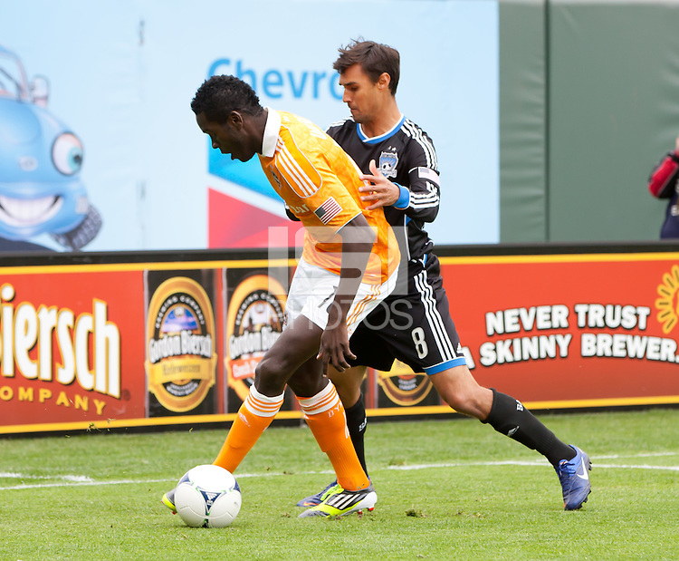 San Francisco, California - Saturday March 17, 2012: Je-Vaughn Watsoncontrolling the ball with Chris Wondolowski during the MLS match at AT&T Park. . Houston Dynamo defeated San Jose Earthquakes  1-0