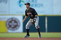 Kannapolis Intimidators second baseman Nick Madrigal (10) on defense against the Hickory Crawdads at L.P. Frans Stadium on July 20, 2018 in Hickory, North Carolina. The Crawdads defeated the Intimidators 4-1. (Brian Westerholt/Four Seam Images)