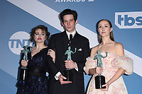 LOS ANGELES - JAN 19:  Helena Bonham Carter, Josh O'Connor, Erin Doherty at the 26th Screen Actors Guild Awards at the Shrine Auditorium on January 19, 2020 in Los Angeles, CA