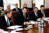 United States President Ronald Reagan attends his first cabinet meeting following the assassination attempt in the Cabinet Room in the White House in Washington, D.C. on Friday, April 24, 1981. .Mandatory Credit: Bill Fitz-Patrick - White House via CNP