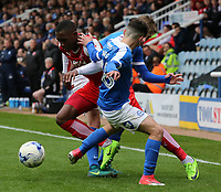 Fleetwood Town's Amari'i Bell tries to escape the attentions of Peterborough United's Chris Forrester &amp; Andrea Borg<br /> <br /> Photographer David Shipman/CameraSport<br /> <br /> The EFL Sky Bet League One - Peterborough United v Fleetwood Town - Friday 14th April 2016 - ABAX Stadium  - Peterborough<br /> <br /> World Copyright &copy; 2017 CameraSport. All rights reserved. 43 Linden Ave. Countesthorpe. Leicester. England. LE8 5PG - Tel: +44 (0) 116 277 4147 - admin@camerasport.com - www.camerasport.com