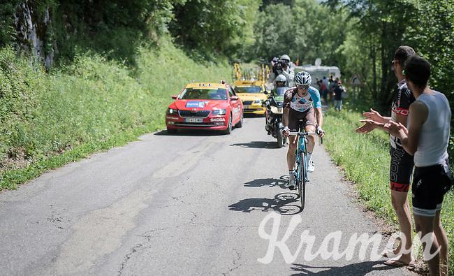 Oliver Naesen (BEL/AG2R-La Mondiale) is one of the last breakaway survivors up the final climb; the Mont du Chat (HC/1504m/8.7km/10.3%)<br /> <br /> Stage 6: Le parc des oiseaux/Villars-Les-Dombes &rsaquo; La Motte-Servolex (147km)<br /> 69th Crit&eacute;rium du Dauphin&eacute; 2017
