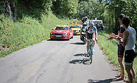 Oliver Naesen (BEL/AG2R-La Mondiale) is one of the last breakaway survivors up the final climb; the Mont du Chat (HC/1504m/8.7km/10.3%)<br /> <br /> Stage 6: Le parc des oiseaux/Villars-Les-Dombes &rsaquo; La Motte-Servolex (147km)<br /> 69th Crit&eacute;rium du Dauphin&eacute; 2017
