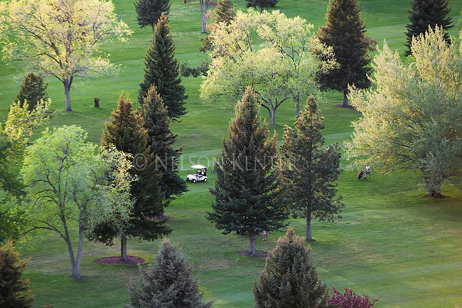 A golf course in Missoula, Montana in springtime