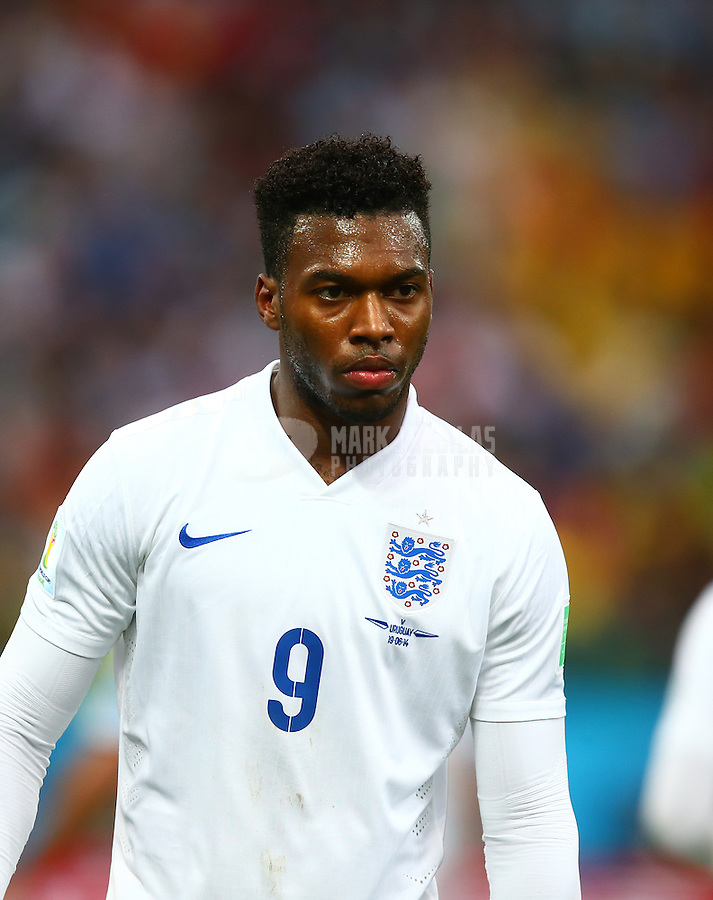 Jun 19, 2014; Sao Paulo, BRAZIL; England forward Daniel Sturridge (9) against Uruguay during the 2014 World Cup at Arena Corinthians. Uruguay defeated England 2-1. Mandatory Credit: Mark J. Rebilas-USA TODAY Sports