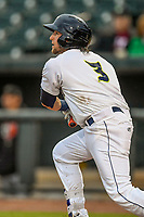 Second baseman Blake Tiberi (3) of the Columbia Fireflies bats in a game against the Augusta GreenJackets on Saturday, April 7, 2018, at Spirit Communications Park in Columbia, South Carolina. Augusta won, 6-2. (Tom Priddy/Four Seam Images)