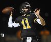 Gregory Campisi #11, St. Anthony's quarterback, throws a pass during a CHSFL varsity game against Monsignor Farrell at St. Anthony's High School in South Huntingon on Friday, Sept. 29, 2017.