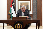 Palestinian President Mahmoud Abbas, makes a speech, in the West Bank city of Ramallah on April 3, 2020. Photo by Thaer Ganaim