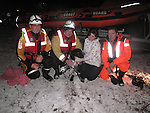 "Members of the Drogheda Coast Guard Unit who were involved in the rescue of Sammy the Dog from a frozen lake ""Rathesker Lake""..The coast Guard members used an inflatable dingy and two crew made there way across over a 100 meters of frozen lake to get to the dog who had been in the water for nearly an hour. The crew members pulled the dog from the water and made there way back across the ice to where the rest of the crew attended to the dog and the Owners...The young girl 12 year old Grace Harris from Rathesker was delighted to be reunited with her dog after an evening walk...Contact Dermot McConnoran 086 3850677.Picture Aiden McMenamon/Newsfile.ie"
