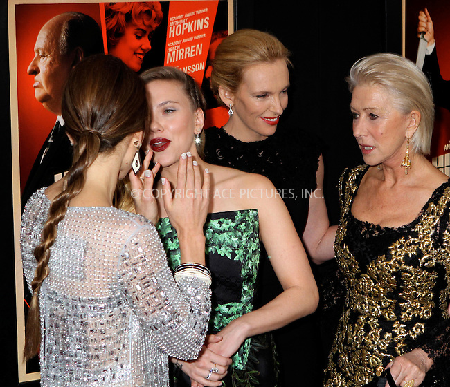 WWW.ACEPIXS.COM....November 18 2012, New York City....Actors Jessica Biel, Scarlett Johansson, Toni Collette and Helen Mirren at the 'Hitchcock' New York Premiere at Ziegfeld Theatre on November 18, 2012 in New York City.....By Line: Nancy Rivera/ACE Pictures......ACE Pictures, Inc...tel: 646 769 0430..Email: info@acepixs.com..www.acepixs.com