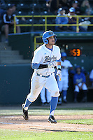Sean Bouchard (5) of the UCLA Bruins runs to first base during a game against the Texas Longhorns at Jackie Robinson Stadium on March 12, 2016 in Los Angeles, California. UCLA defeated Texas, 5-4. (Larry Goren/Four Seam Images)