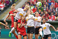 Portland, OR - Sunday Oct. 02, 2016: Lynn Williams, Samantha Mewis, Allie Long during a National Women's Soccer League (NWSL) semi-finals match between the Portland Thorns FC and the Western New York Flash at Providence Park.