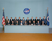 Portrait of astronaut group announced on April 4, 1966. The 19 new astronauts, all pilots, brought the total number of astronauts to 50. Of the new class, three would walk on the Moon: Ed Mitchell on Apollo 14, Jim Irwin on Apollo 15 and Charlie Duke on Apollo 16. Seated, left to right, are Edward G. Givens Jr., Edgar D. Mitchell, Charles M. Duke Jr., Don L. Lind, Fred W. Haise Jr., Joe H. Engle, Vance D. Brand, John S. Bull and Bruce McCandless II. Standing, left to right, are John L. Swigert Jr., William R. Pogue, Ronald E. Evans, Paul J. Weitz, James B. Irwin, Gerald P. Carr, Stuart A. Roosa, Alfred M. Worden, Thomas K. Mattingly and Jack R. Lousma.<br /> Credit: NASA via CNP