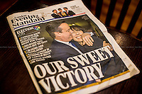 Evening Standard - Friday 8 May 2015 - Trafalgar Square.<br /> <br /> &quot;And the Winner is&hellip; David Cameron Re-elected British Prime Minister&quot;.<br /> <br /> For more pictures and info about this event please click here: http://bit.ly/1F4Ligw<br /> <br /> After 5 years of the Coalition Government (Conservatives and Liberal Democrats) led by the Conservative Party leader David Cameron, British people voted in favour of an end to the coalition arrangement. In fact, the Conservative Party gained 331 seats (36.9% - 11,334,920 votes) in the House of Commons which is a slender overall majority that allows them to form the next Government without the need of a coalition. The other results: Labour Party 232 seats (30,4% - 9,344,328 votes); Scottish National Party, SNP 56 seats (4,7% - 1,454,436 votes); Liberal Democrats 8 seats (7,9% - 2,415,888 votes); United Kingdom Independence Party, UKIP 1 seat (12.6% - 3,881,129 votes); Green Party 1 seat (3,8% - 1,157,613 votes); Democratic Unionist Party 8 seats (0,6% - 184,260 votes); Sinn Fein 4 seats (0,6% - 176,232 votes); Plaid Cymru 3 seats (0,6% - 181,694 votes); Social Democratic &amp; Labour Party 3 seats (0,3% - 99,809 votes); Ulster Unionist Party 2 seats (0,2% - 114,935 votes); others 1 seat. <br /> The definitive turn out of the British General Election 2015 was 66.1% (&lt;&lt;The total size of the electorate will not be known until the tallies are collated individually by councils&gt;&gt; - source the Telegraph). During the day Ed Miliband (Labour leader), Nick Clegg (Liberal Democrats leader), Nigel Farage (UKIP leader) all resigned from their positions as leaders of their respective parties.<br /> <br /> For more information please click here: http://bit.ly/1H3TRrA