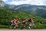 The breakaway group Michael Schar (SUI) BMC Racing Team, Thomas De Gendt (BEL) Lotto-Soudal, Tom Scully (NZL) EF-Drapac-Cannondale and Dimitri Claeys (BEL) Cofidis with 100km to go during Stage 13 of the 2018 Tour de France running 169.5km from Bourg d'Oisans to Valence, France. 20th July 2018. <br /> Picture: ASO/Alex Broadway | Cyclefile<br /> All photos usage must carry mandatory copyright credit (© Cyclefile | ASO/Alex Broadway)