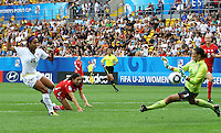 USA's Sydney Leroux (L) misses to score against goalkepper Nathalie Schwery of Switzerland during the FIFA U20 Women's World Cup at the Rudolf Harbig Stadium in Dresden, Germany on July 17th, 2010.