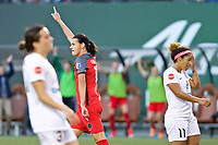 Portland, OR - Wednesday June 28, 2017: Christine Sinclair celebrates after her second goal of the match during a regular season National Women's Soccer League (NWSL) match between the Portland Thorns FC and FC Kansas City at Providence Park.