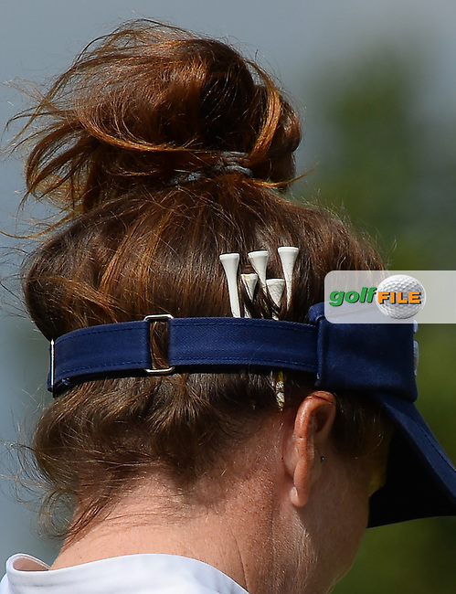View of Golf tees on the visor of Beth Allen of USA during the Final Round of The ISPS Handa Ladies European Masters at The Buckinghamshire Golf Club, Denham, England. Picture: Golffile | Richard Martin-Roberts<br /> All photo usage must carry mandatory copyright credit (&copy; Golffile | Richard Martin- Roberts)