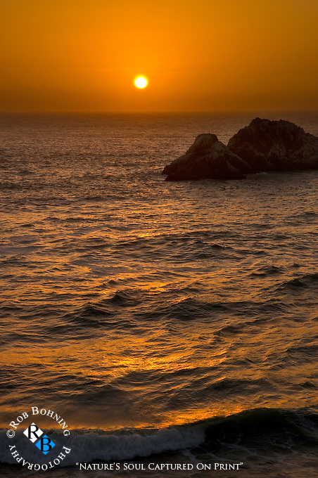 Sunset over the Seal Rocks at Ocean Beach from the Cliff House, San Francisco