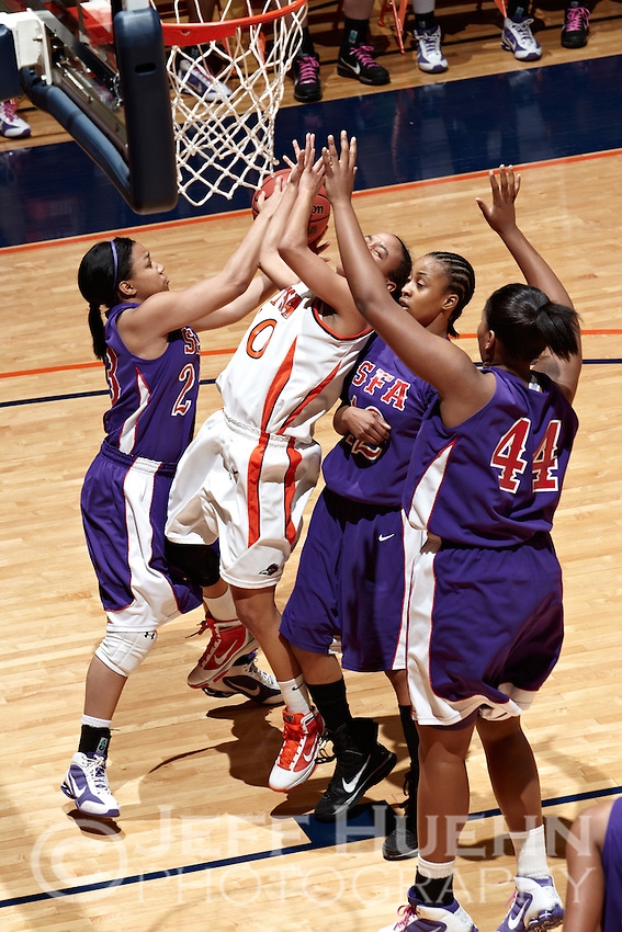SAN ANTONIO , TX - MARCH 6, 2010: The Stephen F. Austin University Ladyjacks vs. The University of Texas At San Antonio Roadrunners Women's Basketball at the UTSA Convocation Center. (Photo by Jeff Huehn)