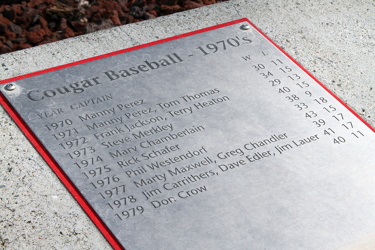 A view of one of the plates (this one is of the 1970's) on the Cougar Baseball Wall of Honor at the entrance to Bailey-Brayton Field, the baseball home of the Washington State Cougars baseball team, on the campus of Washington State University in Pullman, Washington.