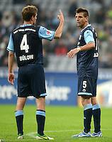 Fussball 2. Bundesliga:  Saison   2012/2013,    10. Spieltag  TSV 1860 Muenchen - FC Erzgebirge Aue  22.10.2012 Kai Buelow und Guillermo Vallori (v. li., 1860 Muenchen)