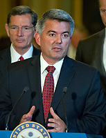 United States Senator Cory Gardner (Republican of Colorado) speaks to reporters following the Republican Party luncheon in the United States Capitol in Washington, DC on Tuesday, July 11, 2017.  <br /> Credit: Ron Sachs / CNP /MediaPunch