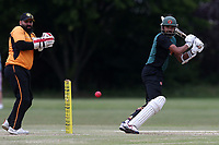 H Afzal hits 4 runs for Harold Wood during Gidea Park and Romford CC vs Harold Wood CC, Shepherd Neame Essex League Cricket at Gidea Park Sports Ground on 6th July 2019