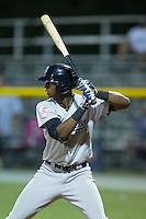 Kendall Coleman (21) of the Pulaski Yankees at bat against the Burlington Royals at Burlington Athletic Park on August 6, 2015 in Burlington, North Carolina.  The Royals defeated the Yankees 1-0. (Brian Westerholt/Four Seam Images)