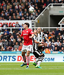 Matthew James of Barnsley in action with Ayoze Perez of Newcastle United during the EFL Championship match at St James' Park Stadium, Newcastle upon Tyne. Picture date: May 7th, 2017. Pic credit should read: Jamie Tyerman/Sportimage
