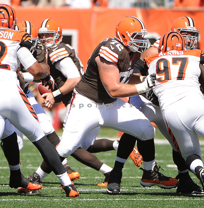 Cleveland Browns Mitchell Schwartz (72) in action during a game against the Cincinnati Bengals on September 16, 2012 at Paul Brown Stadium in Cincinnati, OH. The Bengals beat the Browns 34-27.